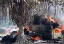 सकरा में शार्ट सर्किट से पिकअप में लगी आग